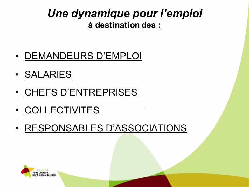 Une dynamique pour l'emploi à destination des :