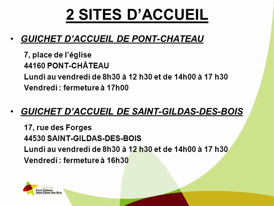 2 SITES D'ACCUEIL GUICHET D'ACCUEIL DE PONT-CHATEAU