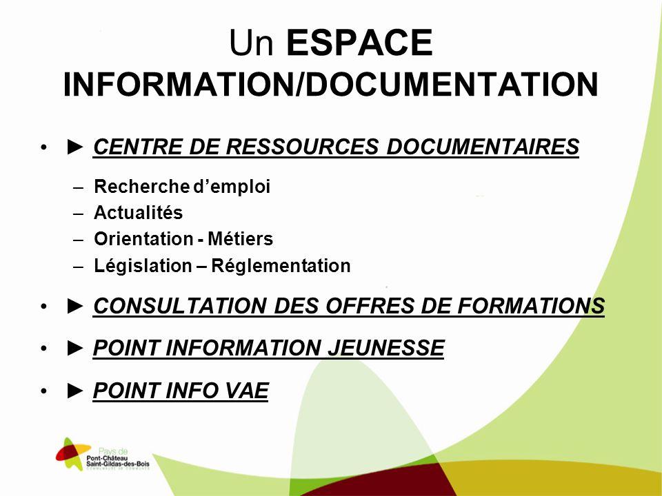 Un ESPACE INFORMATION/DOCUMENTATION