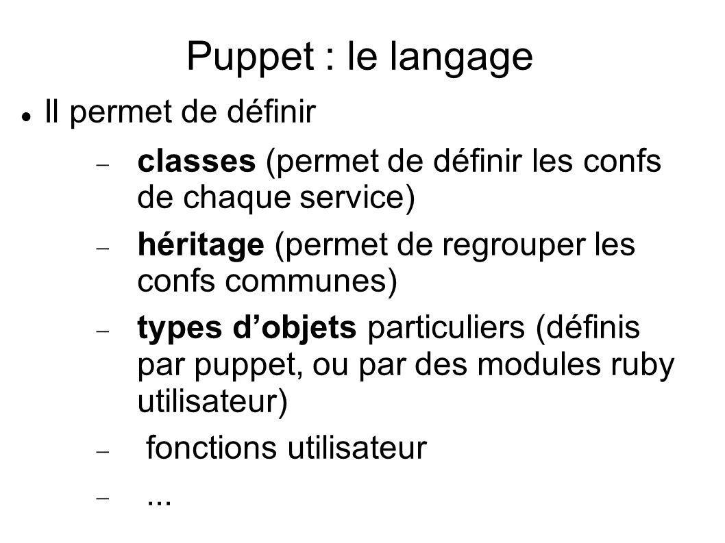 Puppet : le langage Il permet de définir