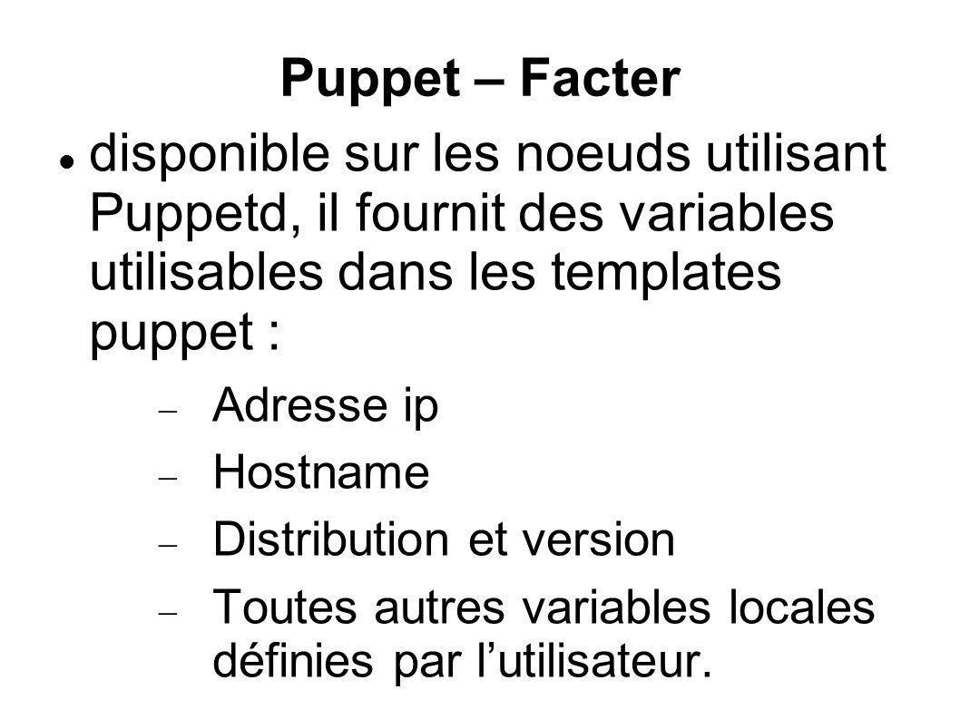 Puppet – Facter disponible sur les noeuds utilisant Puppetd, il fournit des variables utilisables dans les templates puppet :