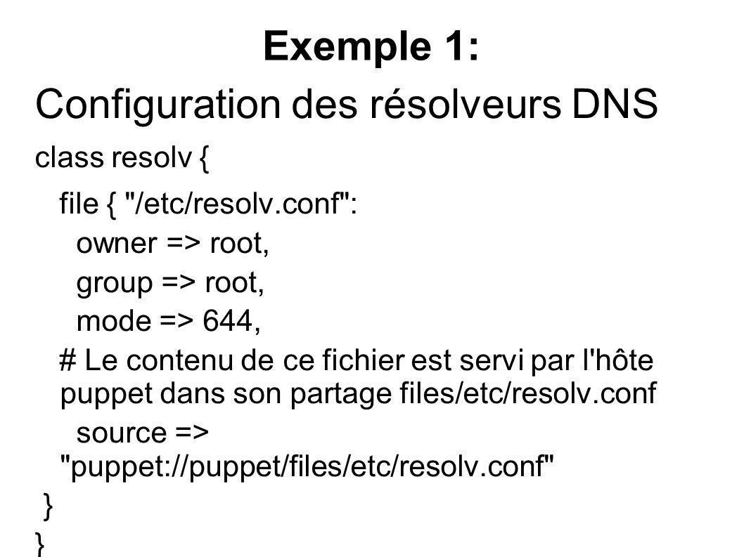 Configuration des résolveurs DNS