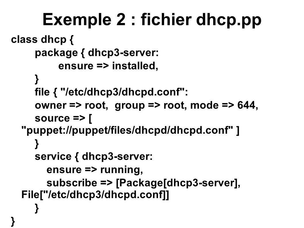 Exemple 2 : fichier dhcp.pp