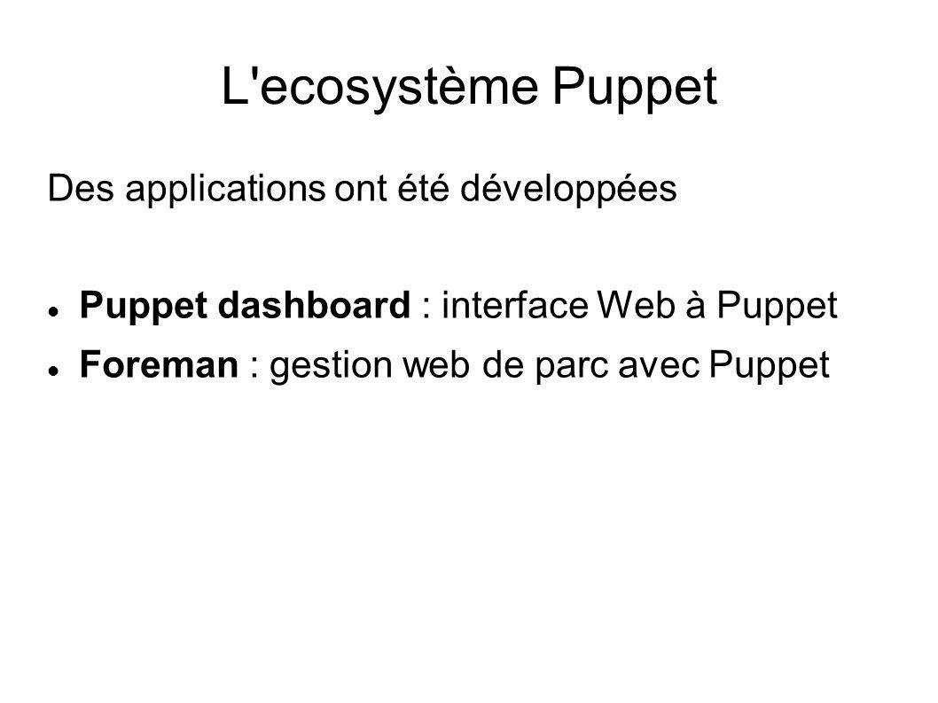L ecosystème Puppet Des applications ont été développées