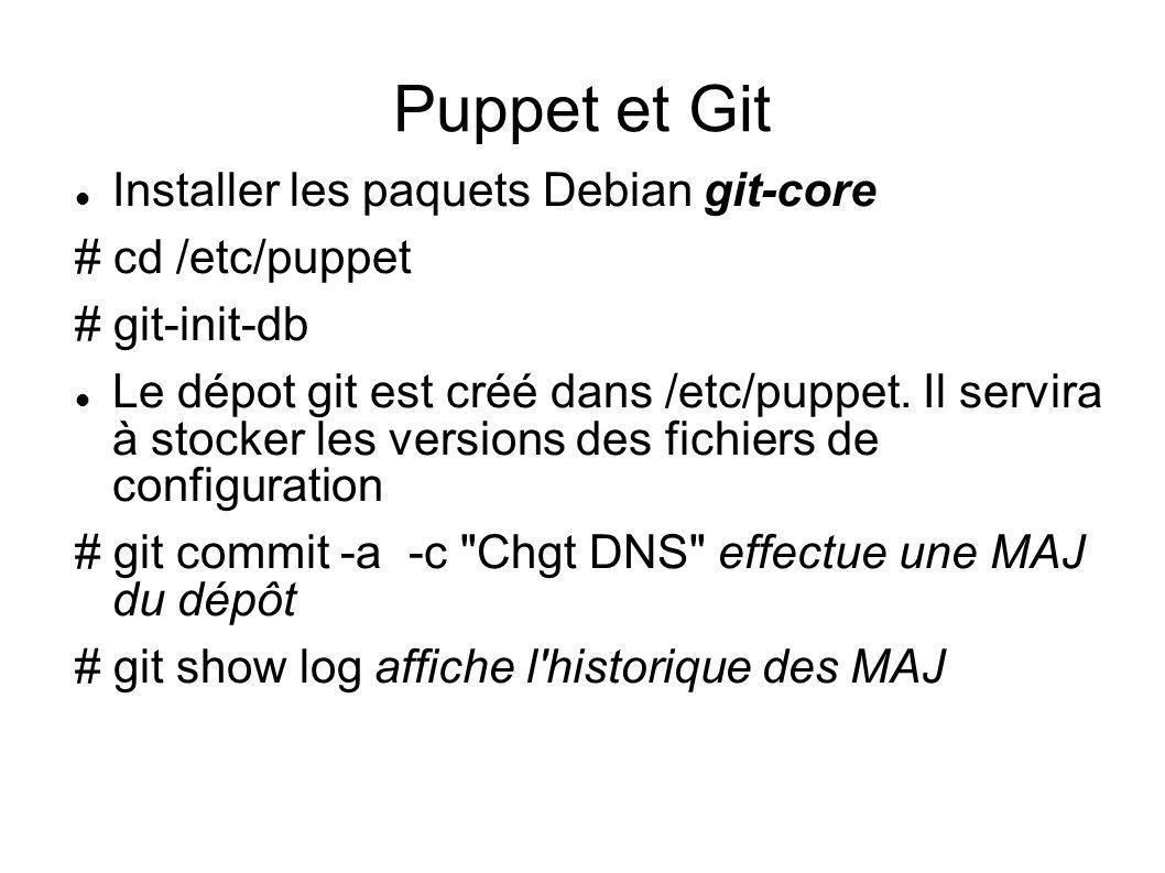 Puppet et Git Installer les paquets Debian git-core # cd /etc/puppet