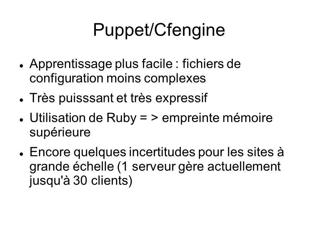 Puppet/Cfengine Apprentissage plus facile : fichiers de configuration moins complexes. Très puisssant et très expressif.
