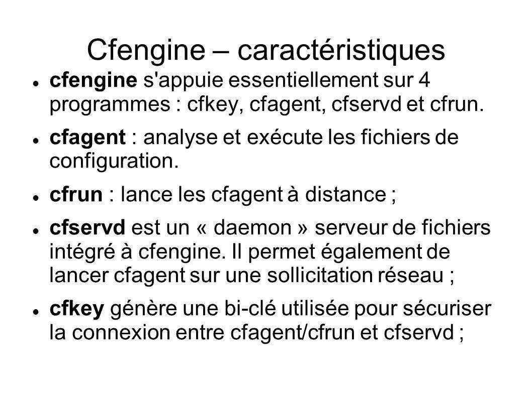 Cfengine – caractéristiques