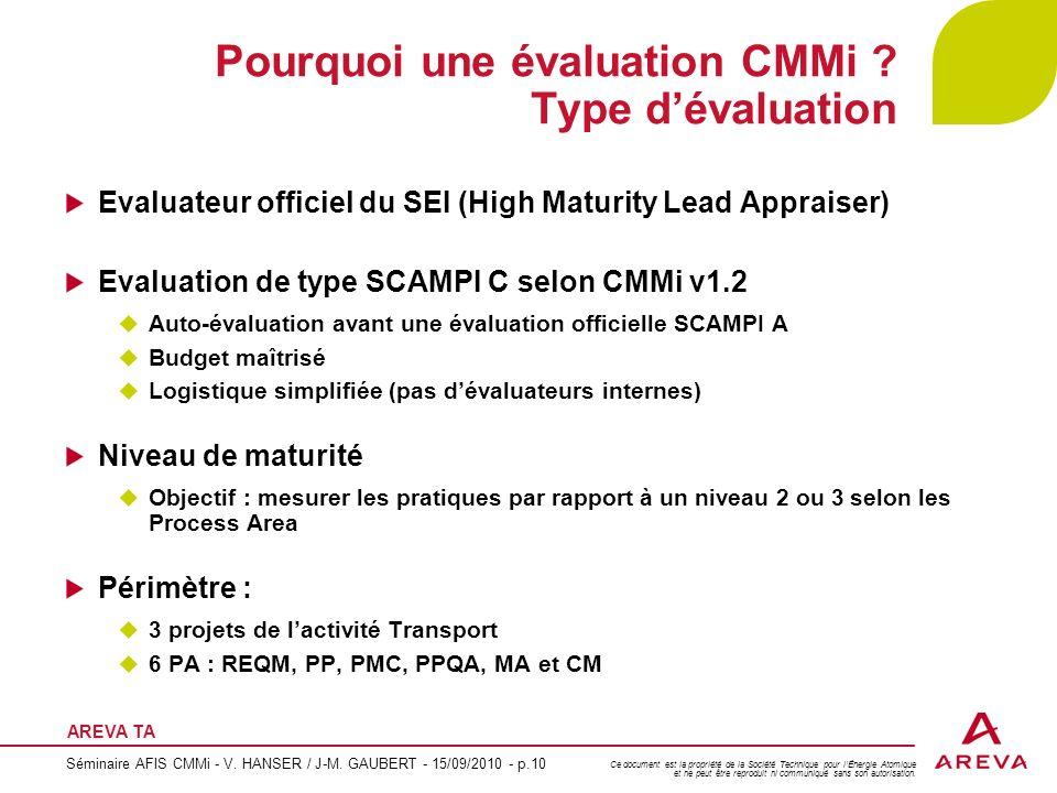 Pourquoi une évaluation CMMi Type d'évaluation