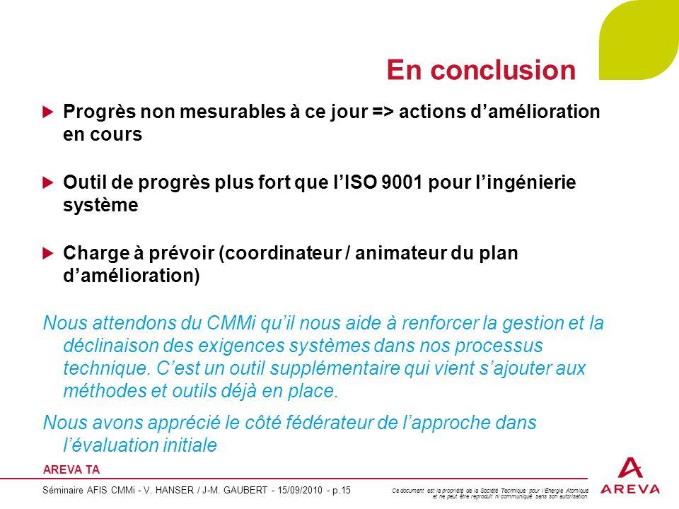 En conclusion Progrès non mesurables à ce jour => actions d'amélioration en cours.