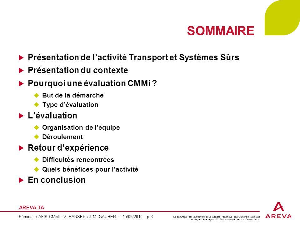 SOMMAIRE Présentation de l'activité Transport et Systèmes Sûrs