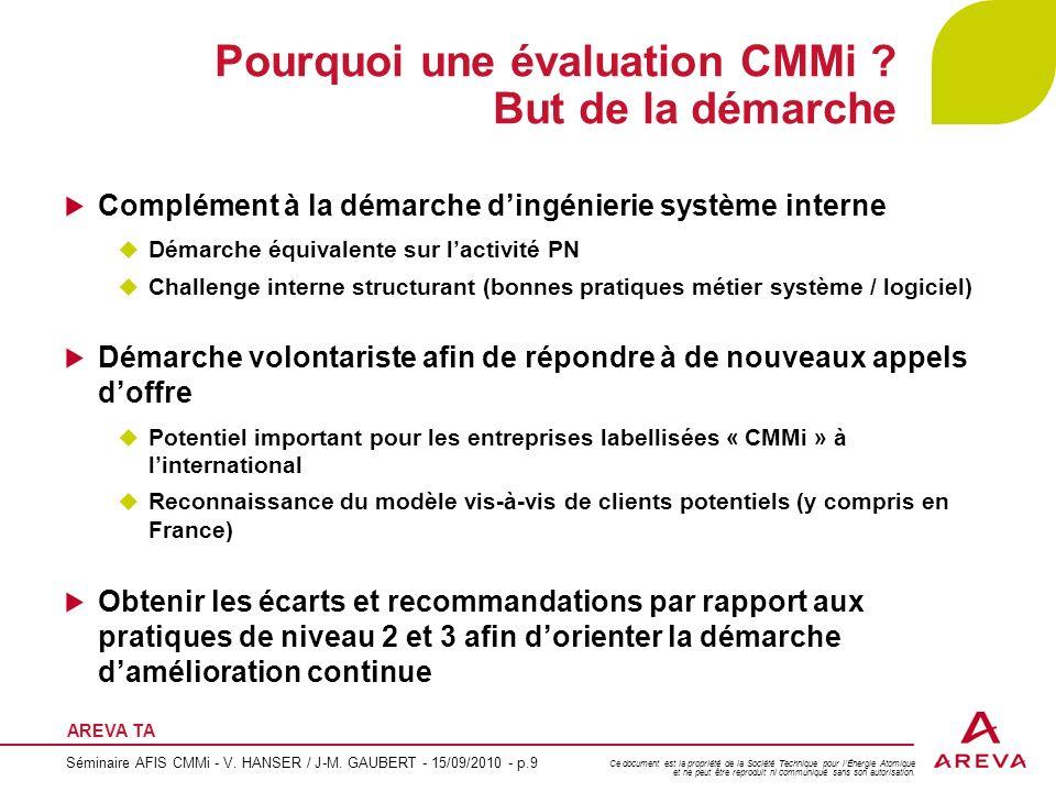 Pourquoi une évaluation CMMi But de la démarche