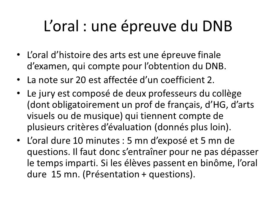 L'oral : une épreuve du DNB