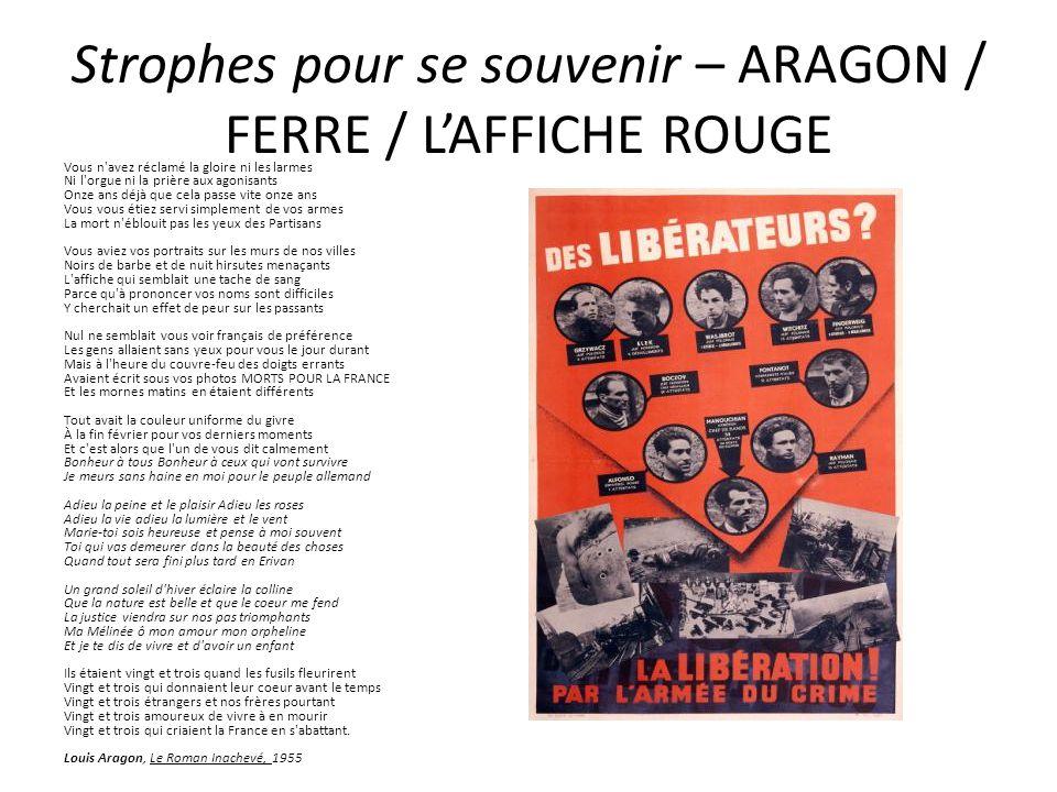 Strophes pour se souvenir – ARAGON / FERRE / L'AFFICHE ROUGE