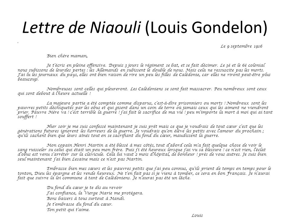Lettre de Niaouli (Louis Gondelon)