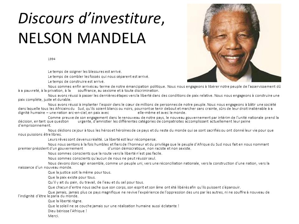 Discours d'investiture, NELSON MANDELA