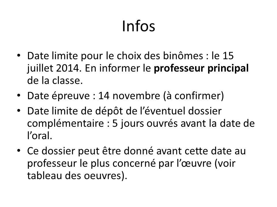 Infos Date limite pour le choix des binômes : le 15 juillet 2014. En informer le professeur principal de la classe.