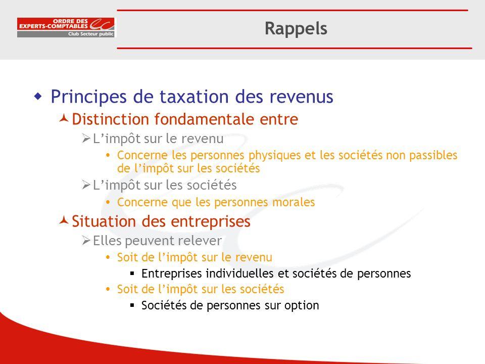 Principes de taxation des revenus