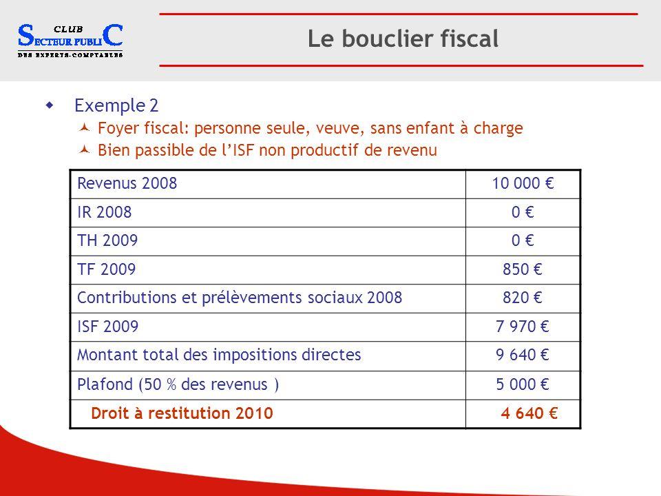 Le bouclier fiscal Exemple 2