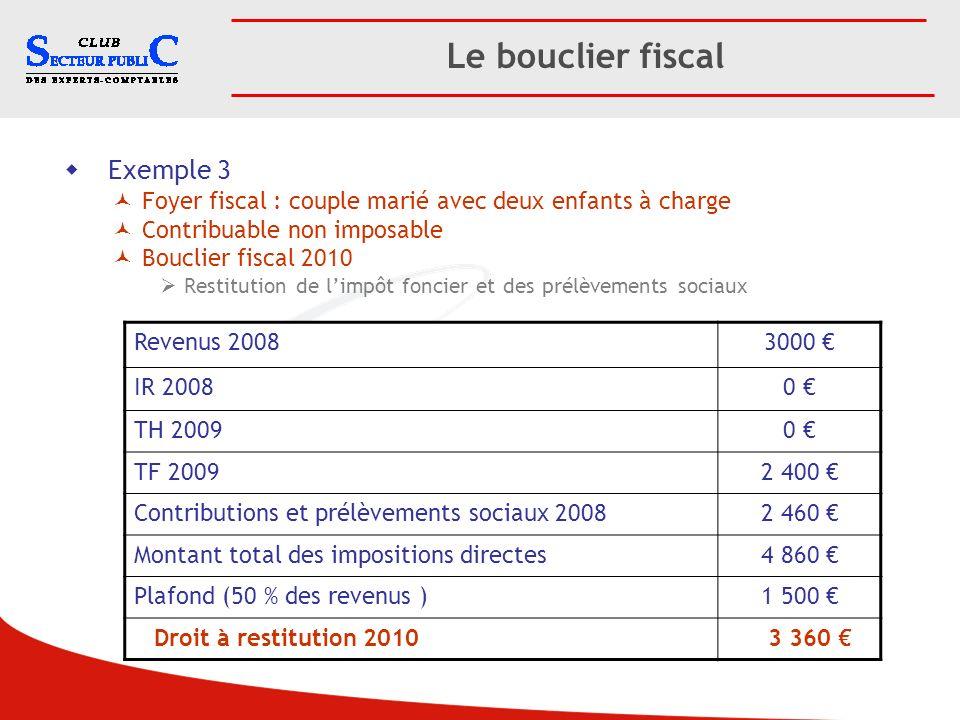 Le bouclier fiscal Exemple 3