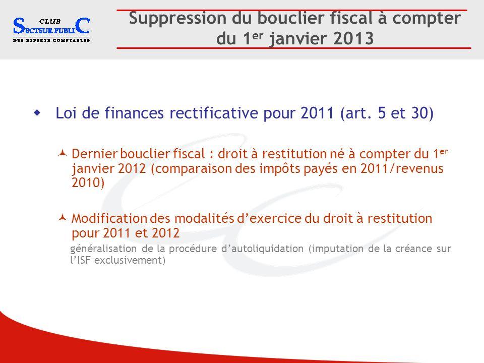Suppression du bouclier fiscal à compter du 1er janvier 2013