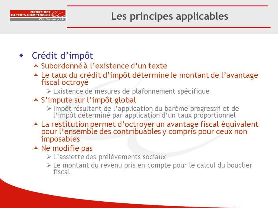 Les principes applicables