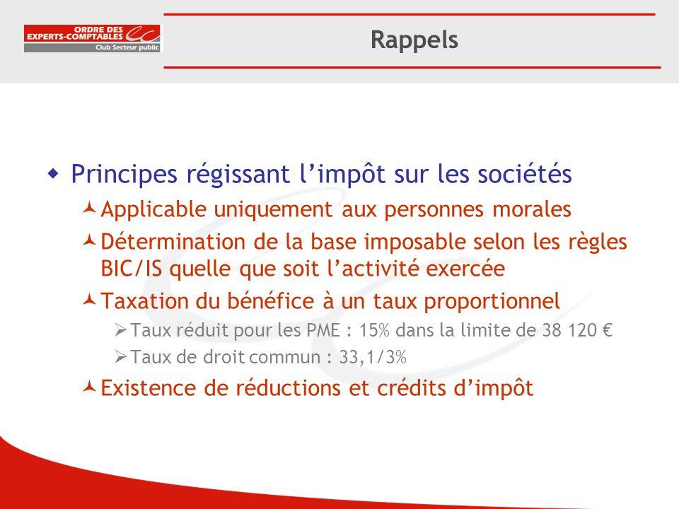 Principes régissant l'impôt sur les sociétés