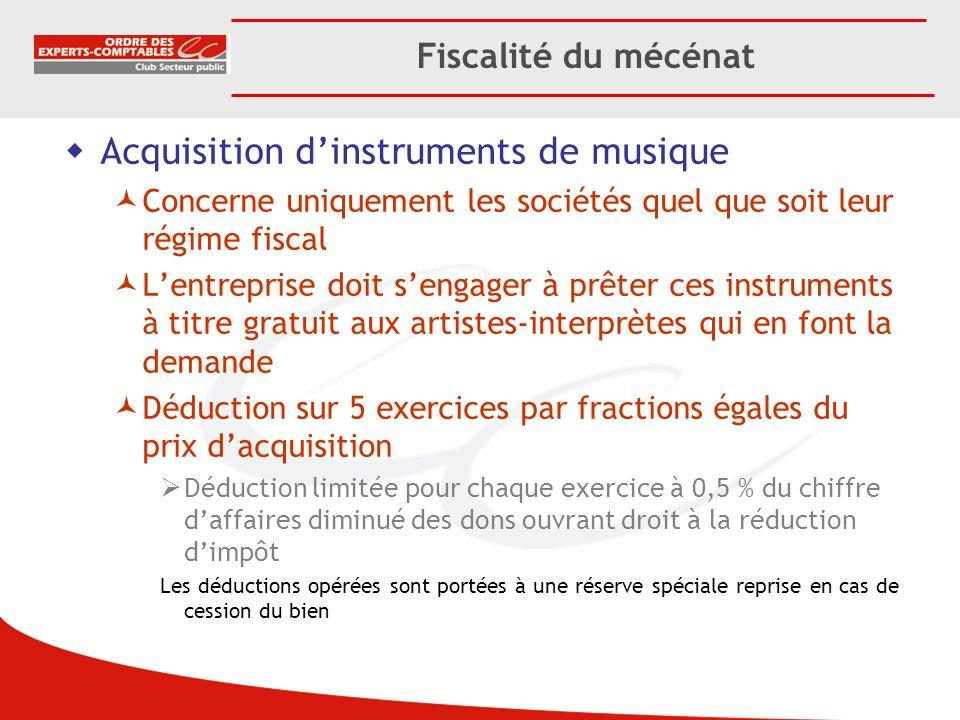 Acquisition d'instruments de musique