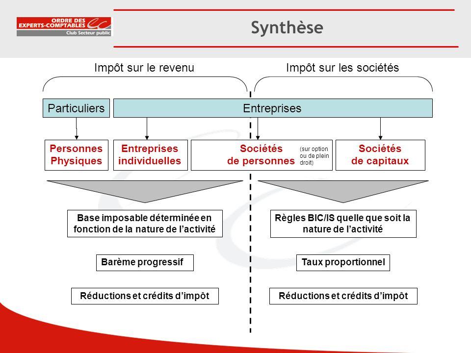 Synthèse Impôt sur le revenu Impôt sur les sociétés Particuliers