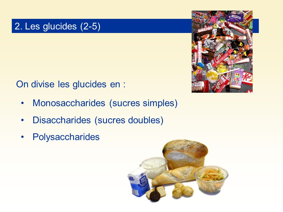 2. Les glucides (2-5) On divise les glucides en : Monosaccharides (sucres simples) Disaccharides (sucres doubles)