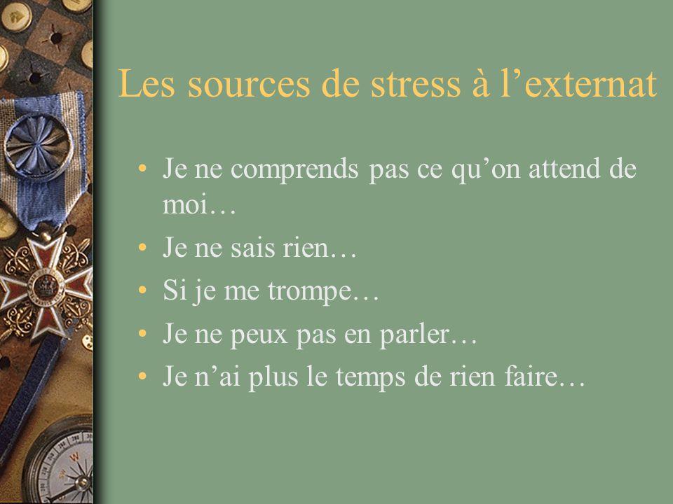 Les sources de stress à l'externat