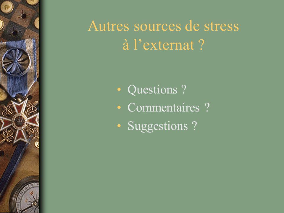 Autres sources de stress à l'externat