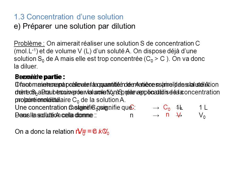 1.3 Concentration d'une solution e) Préparer une solution par dilution