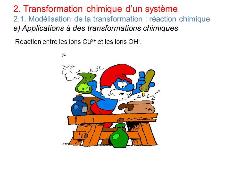 2. Transformation chimique d'un système