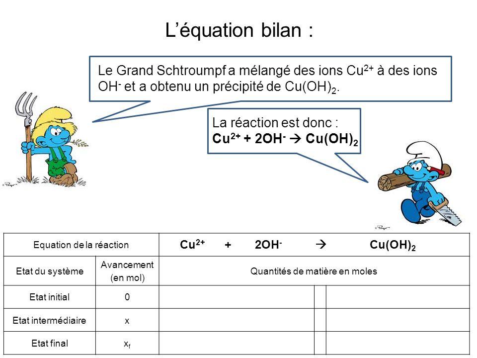 L'équation bilan :Le Grand Schtroumpf a mélangé des ions Cu2+ à des ions OH- et a obtenu un précipité de Cu(OH)2.