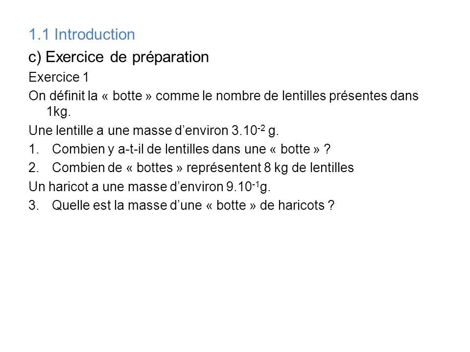 c) Exercice de préparation