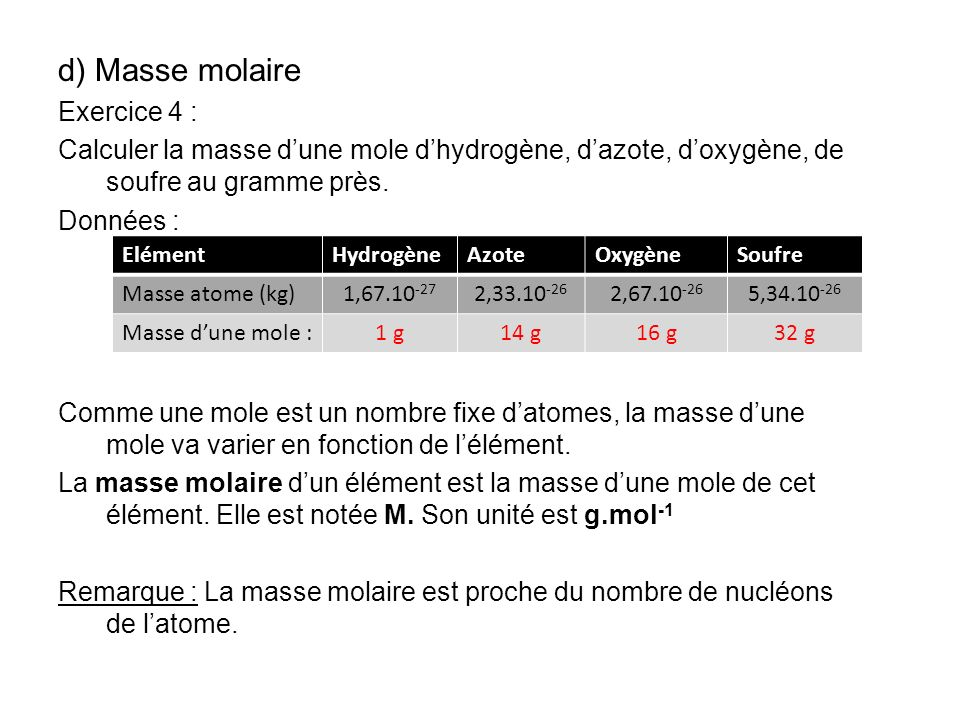 d) Masse molaire Exercice 4 :