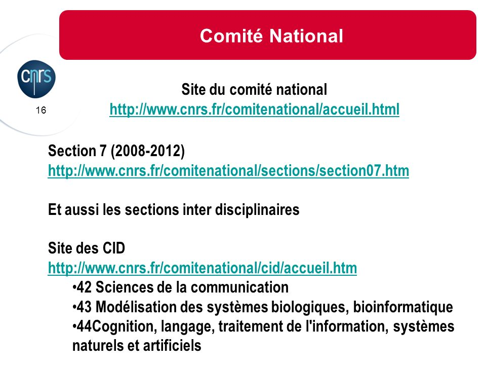 Site du comité national