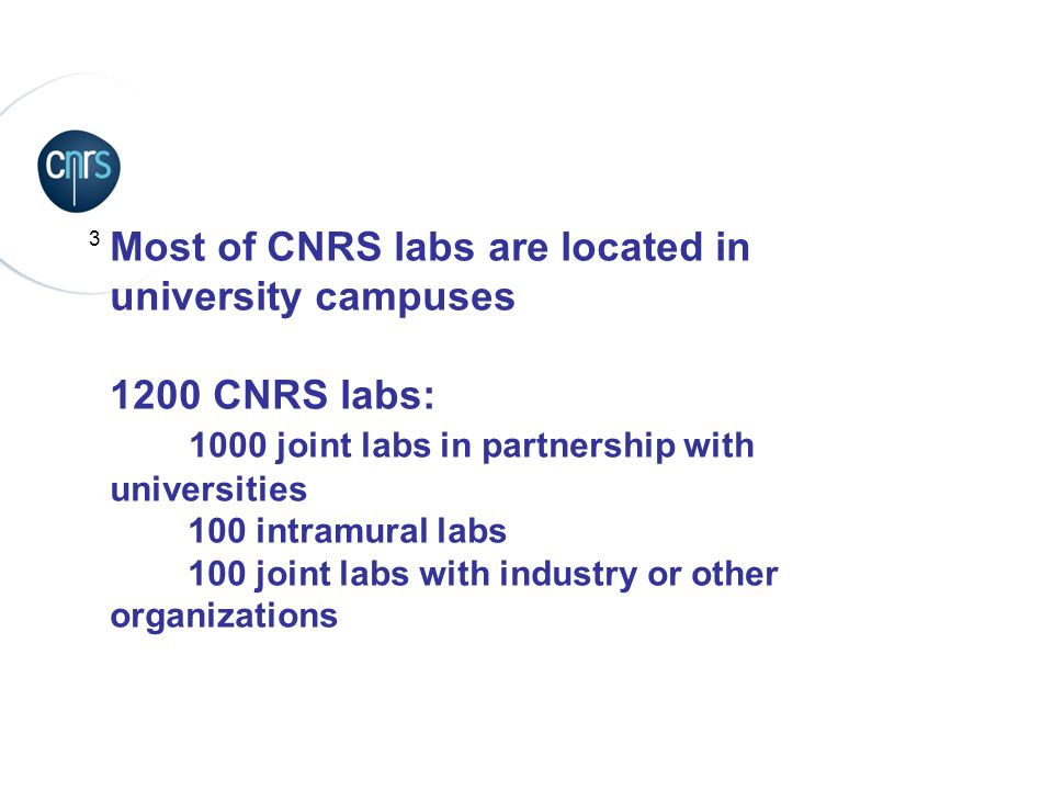 Most of CNRS labs are located in university campuses 1200 CNRS labs: 1000 joint labs in partnership with universities 100 intramural labs 100 joint labs with industry or other organizations