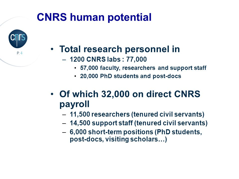 CNRS human potential Total research personnel in