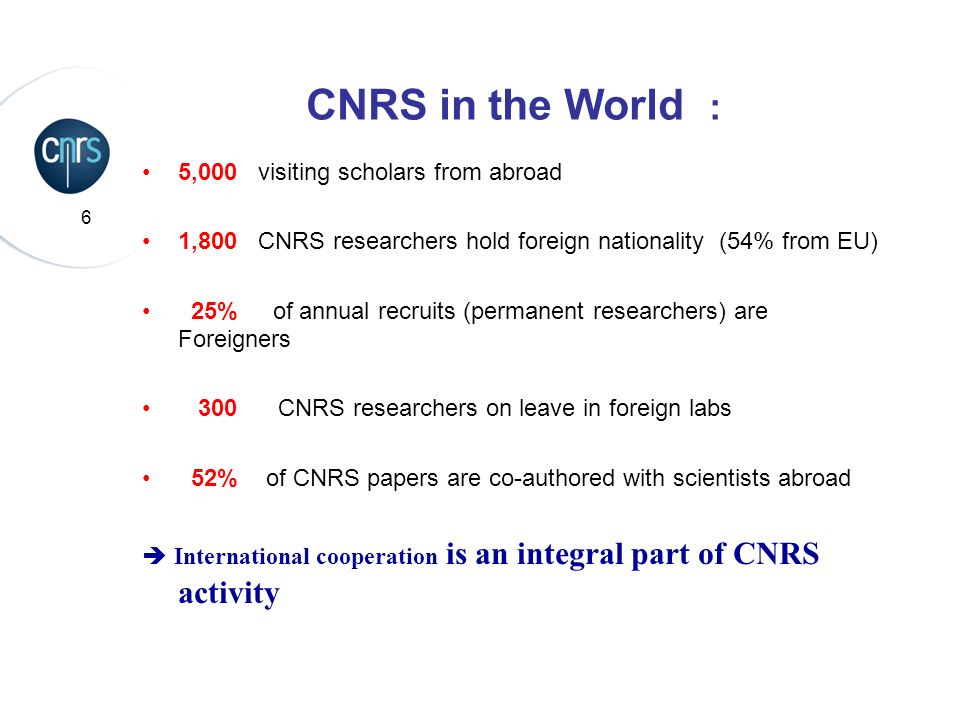 CNRS in the World : 5,000 visiting scholars from abroad