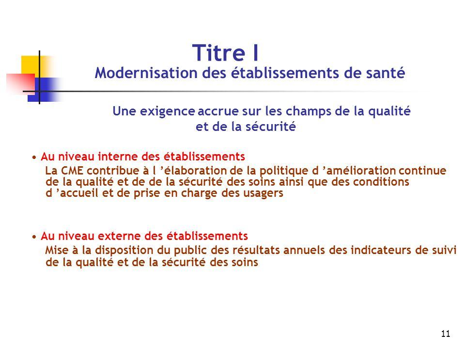 Titre I Modernisation des établissements de santé et de la sécurité