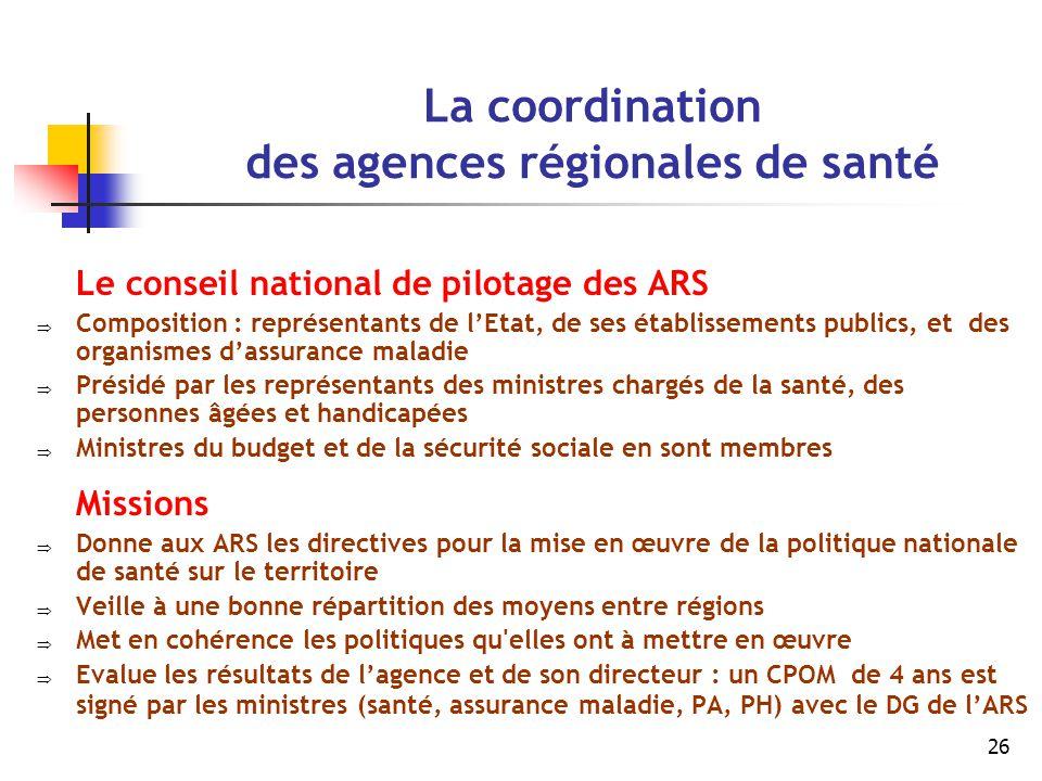 La coordination des agences régionales de santé