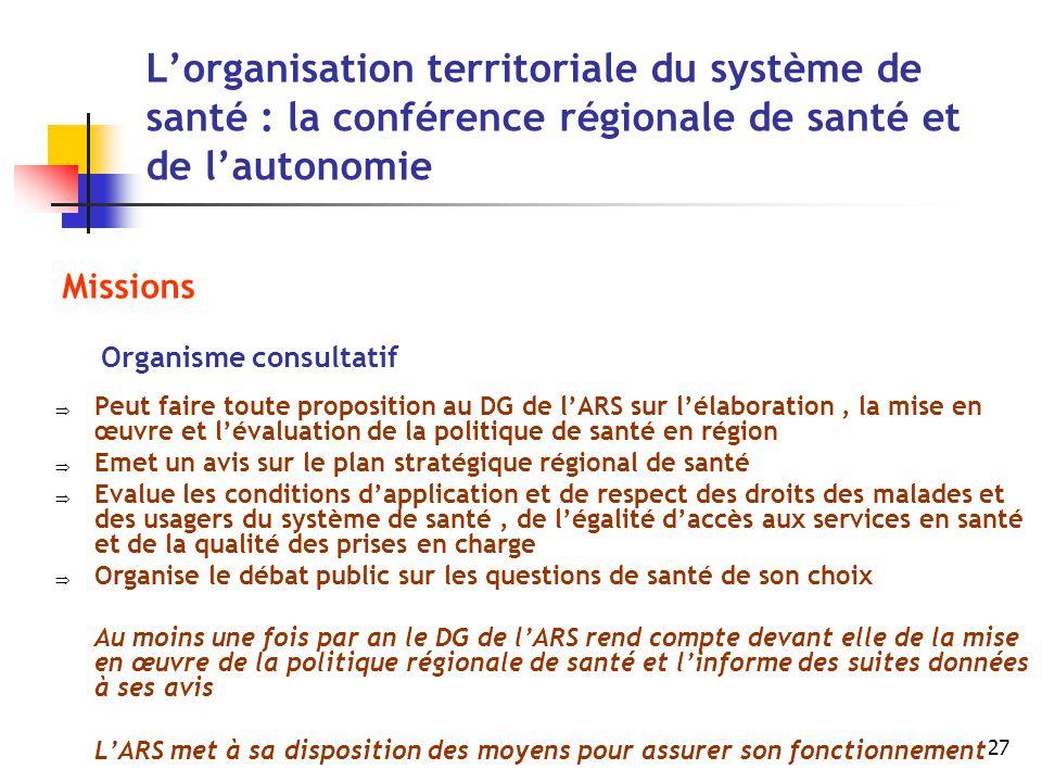 L'organisation territoriale du système de santé : la conférence régionale de santé et de l'autonomie