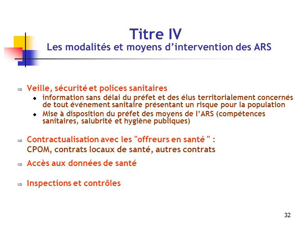 Titre IV Les modalités et moyens d'intervention des ARS