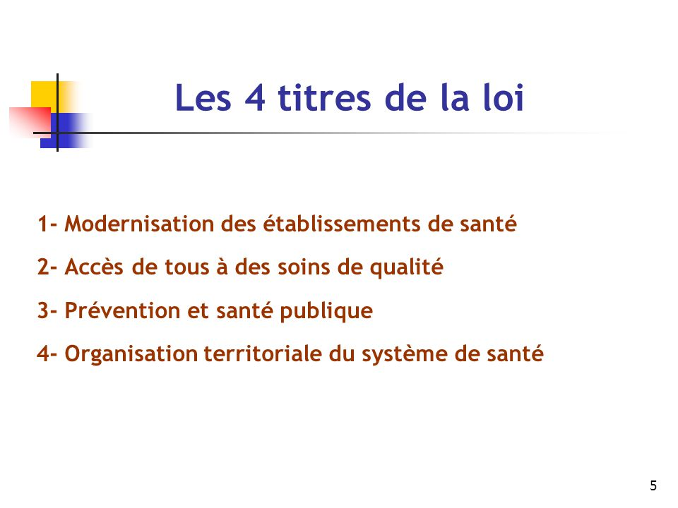 Les 4 titres de la loi 1- Modernisation des établissements de santé