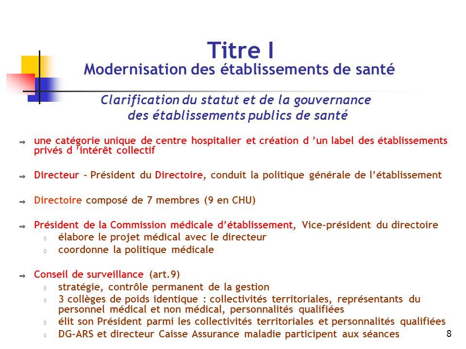 Titre I Clarification du statut et de la gouvernance
