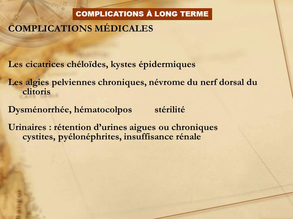 COMPLICATIONS MÉDICALES Les cicatrices chéloïdes, kystes épidermiques