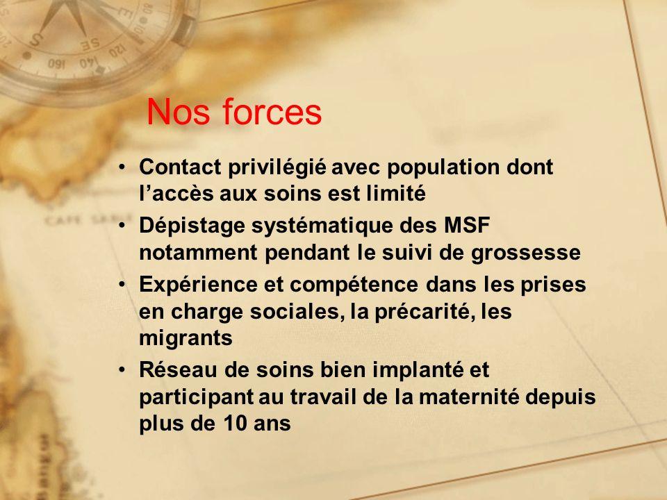 Nos forces Contact privilégié avec population dont l'accès aux soins est limité.