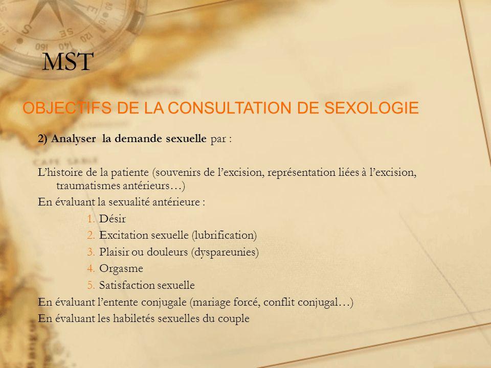 MST OBJECTIFS DE LA CONSULTATION DE SEXOLOGIE