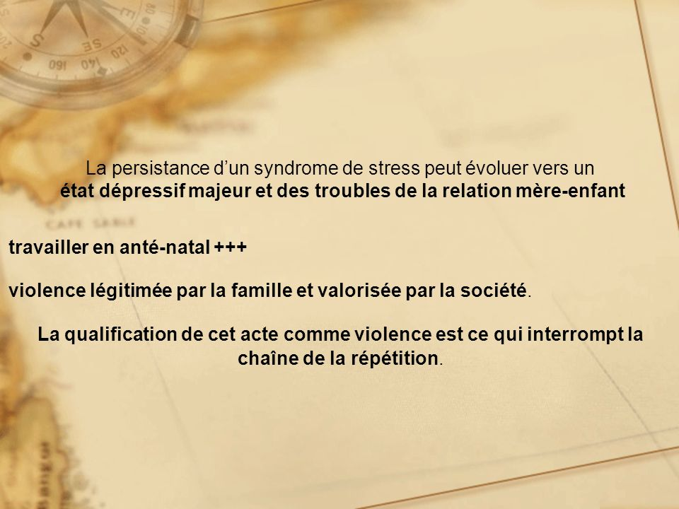 La persistance d'un syndrome de stress peut évoluer vers un